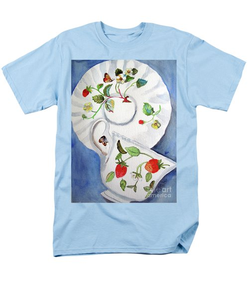 Strawberry Cup And Saucer Men's T-Shirt  (Regular Fit) by Sandy McIntire