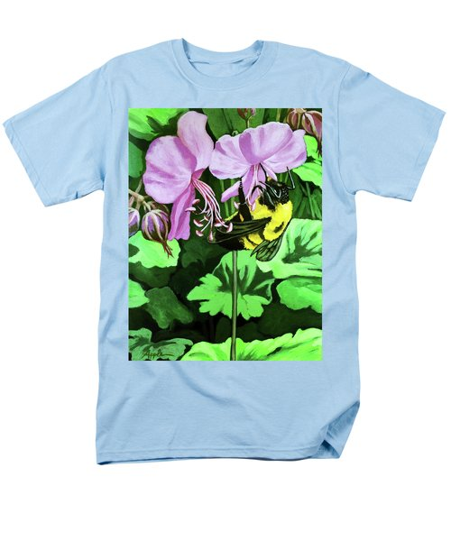 Summer Garden Bumblebee And Flowers Nature Painting Men's T-Shirt  (Regular Fit) by Linda Apple