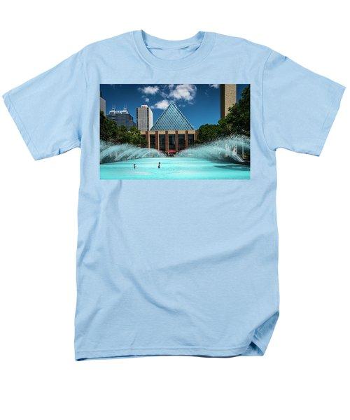 Men's T-Shirt  (Regular Fit) featuring the photograph Summer Splash Downtown Edmonton by Darcy Michaelchuk