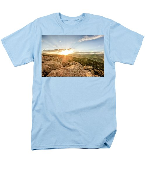Men's T-Shirt  (Regular Fit) featuring the photograph Sunset Over The Mountains Of Flaggstaff Road In Boulder, Colorad by Peter Ciro
