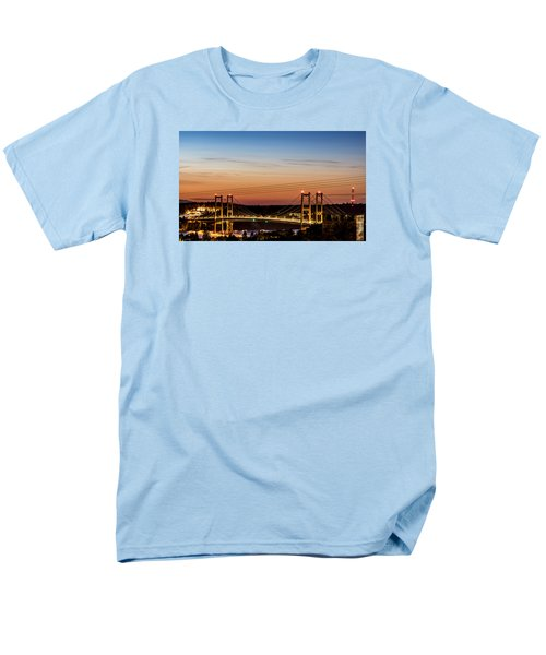 Men's T-Shirt  (Regular Fit) featuring the photograph Sunset Over The Tacoma Narrows Bridges by Rob Green