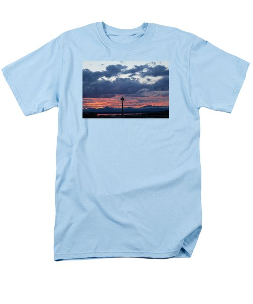 Sunset Red Clouds And Space Needle Men's T-Shirt  (Regular Fit) by Suzanne Lorenz