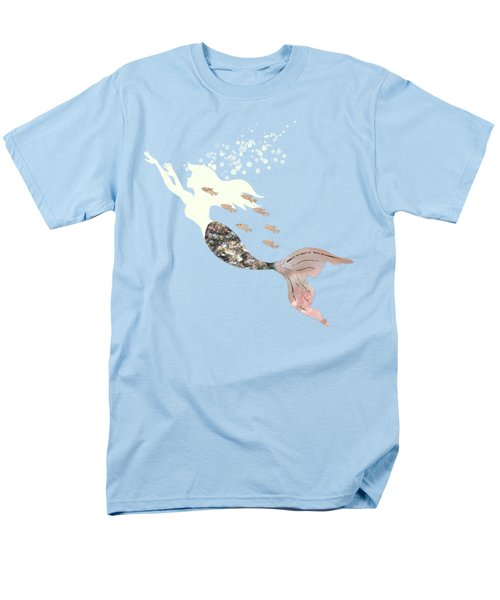 Swimming With The Fishes A White Mermaid Racing Rose Gold Fish Men's T-Shirt  (Regular Fit) by Tina Lavoie