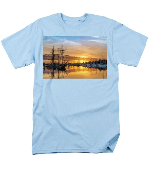 Tall Ships Sunset 1 Men's T-Shirt  (Regular Fit) by Greg Nyquist