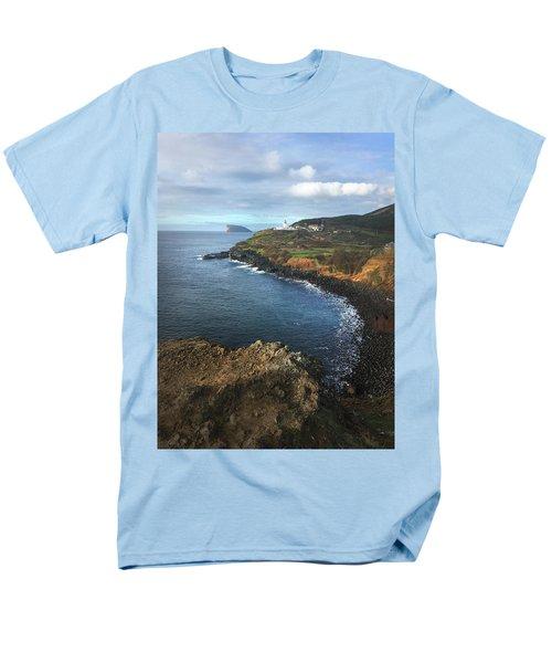 Terceira Island Coast With Ilheus De Cabras And Ponta Das Contendas Lighthouse  Men's T-Shirt  (Regular Fit) by Kelly Hazel