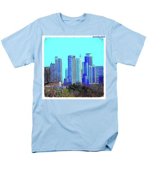 The #austin #skyline On A Sunny, Cold Men's T-Shirt  (Regular Fit) by Austin Tuxedo Cat