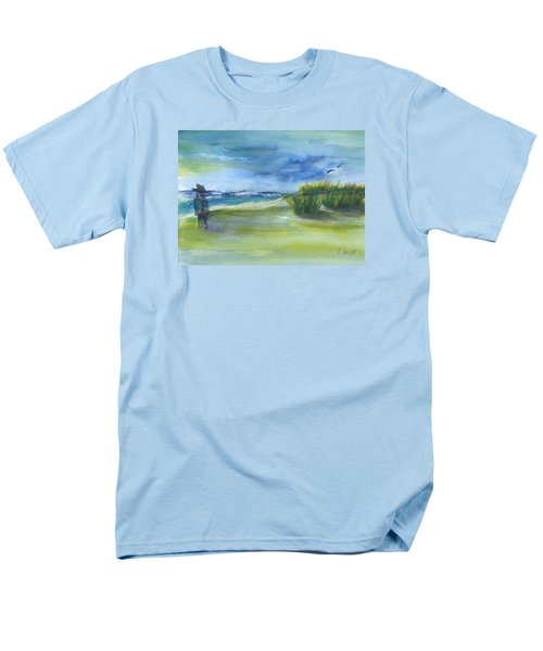 Men's T-Shirt  (Regular Fit) featuring the mixed media The Gray Man Visits Pawleys Island Sc by Frank Bright
