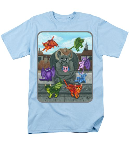 Men's T-Shirt  (Regular Fit) featuring the painting The Guardian Gargoyle Aka The Kitten Sitter by Carrie Hawks