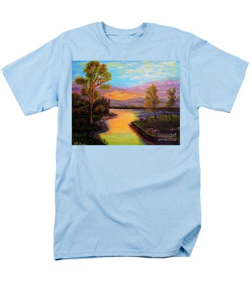 The Liquid Fire Of A Painted Golden Sunset Men's T-Shirt  (Regular Fit) by Kimberlee Baxter