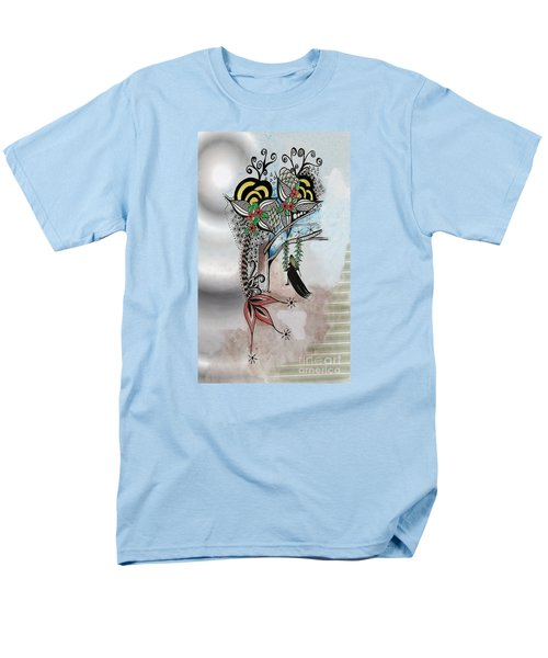 Men's T-Shirt  (Regular Fit) featuring the drawing The Swing Colorful Ink Drawing Art By Saribelle by Saribelle Rodriguez