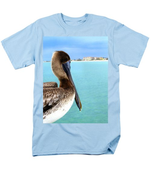 This Is My Town - Pelican At Clearwater Beach Florida  Men's T-Shirt  (Regular Fit) by Angela Rath