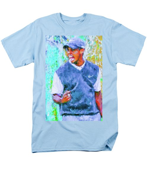 Men's T-Shirt  (Regular Fit) featuring the photograph Tiger One Two Three Painting Digital Golfer by David Haskett