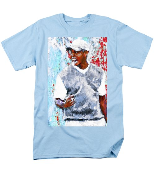 Men's T-Shirt  (Regular Fit) featuring the photograph Tiger Woods One Two Red Painting Digital by David Haskett