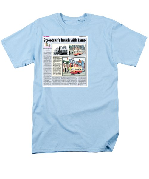 Men's T-Shirt  (Regular Fit) featuring the painting Toronto Sun Article Streetcars Brush With Fame by Kenneth M Kirsch