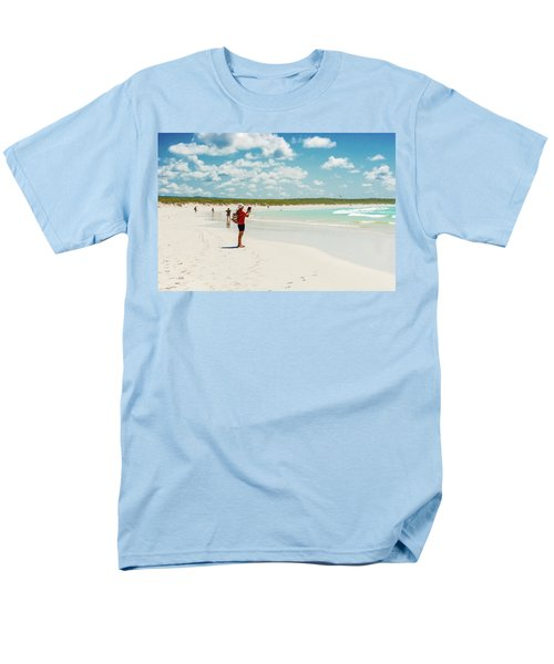 Tortuga Bay Beach At Santa Cruz Island In Galapagos  Men's T-Shirt  (Regular Fit) by Marek Poplawski