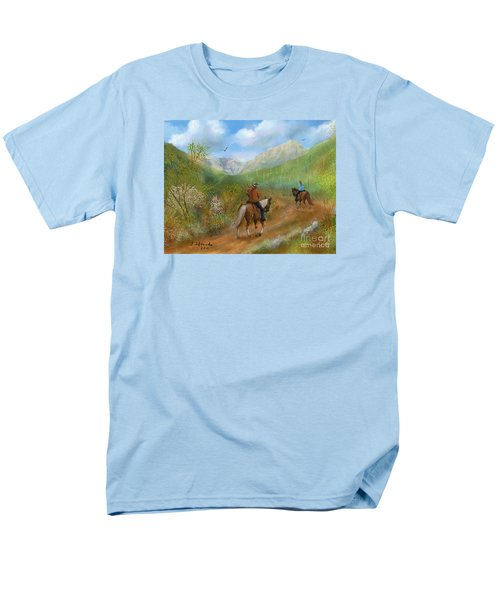 Men's T-Shirt  (Regular Fit) featuring the painting Trail Ride In Sabino Canyon by Judy Filarecki