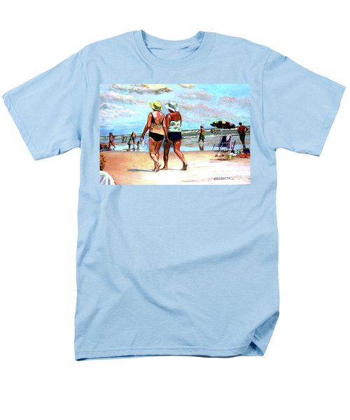 Men's T-Shirt  (Regular Fit) featuring the painting Two Women Walking On The Beach by Stan Esson