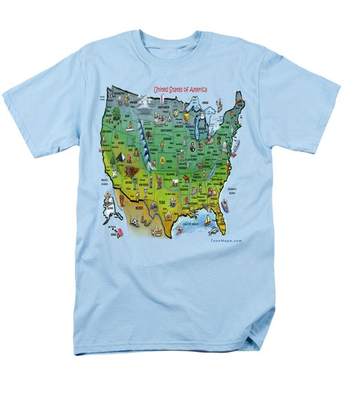 Usa Cartoon Map Men's T-Shirt  (Regular Fit) by Kevin Middleton