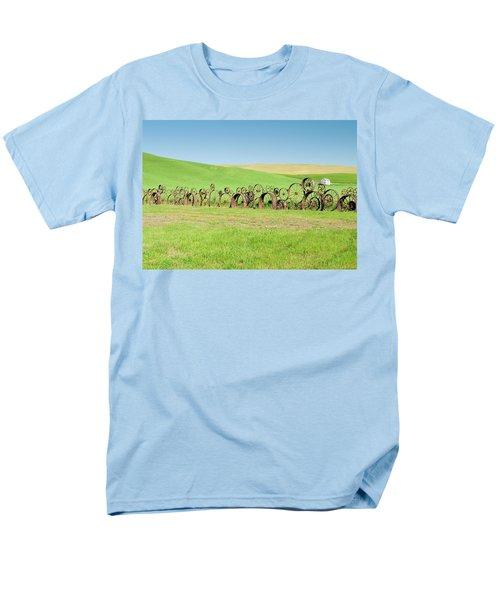 Wagon Wheels Stacked Palouse Washington Men's T-Shirt  (Regular Fit) by James Hammond