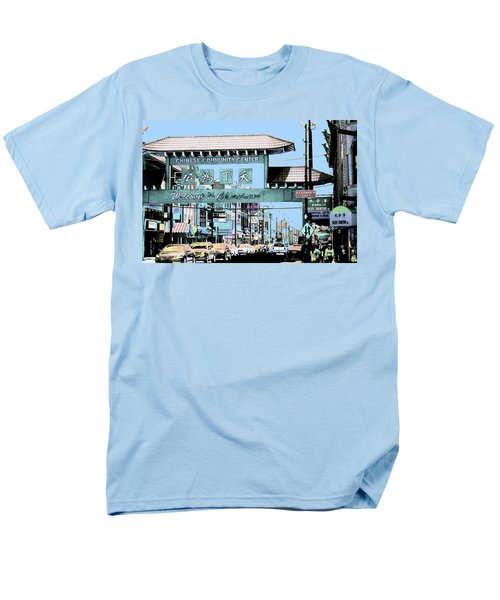 Welcome To Chinatown Sign Blue Men's T-Shirt  (Regular Fit) by Marianne Dow