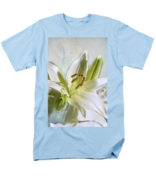 White Lilies On Blue Men's T-Shirt  (Regular Fit) by Jacqi Elmslie