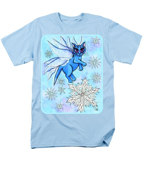Men's T-Shirt  (Regular Fit) featuring the painting Winter Snowflake Fairy Cat by Carrie Hawks