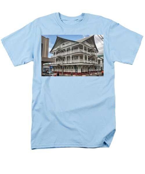 Wooden House In Colonial Style In Downtown Suriname Men's T-Shirt  (Regular Fit) by Patricia Hofmeester