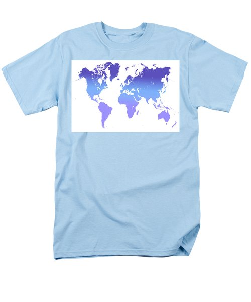 Men's T-Shirt  (Regular Fit) featuring the photograph World Map Abstract. Blue Purple by Jenny Rainbow