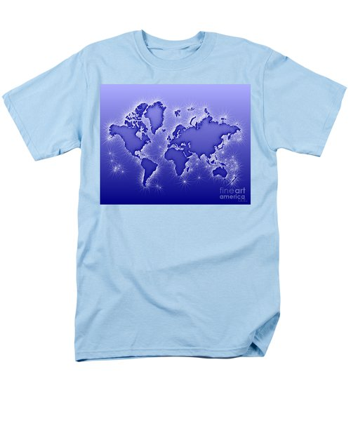 World Map Opala In Blue And White Men's T-Shirt  (Regular Fit) by Eleven Corners