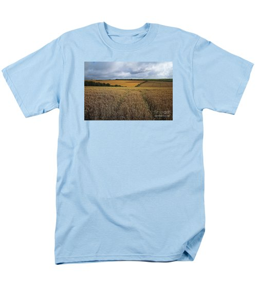 Men's T-Shirt  (Regular Fit) featuring the photograph Yelow Fields And Fluffy Clouds  by Gary Bridger