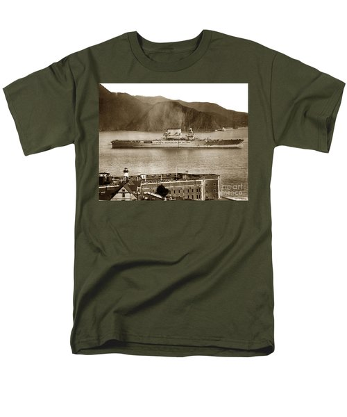 U.s.s. Lexington Cv-2 Fort Point Golden Gate San Francisco Bay California 1928 Men's T-Shirt  (Regular Fit) by California Views Mr Pat Hathaway Archives