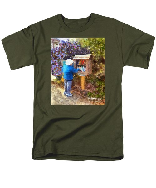 Men's T-Shirt  (Regular Fit) featuring the painting  Alameda  Little Free Library by Linda Weinstock
