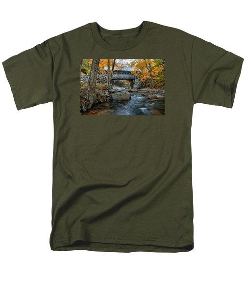 Flume Gorge Covered Bridge Men's T-Shirt  (Regular Fit) by Jeff Folger