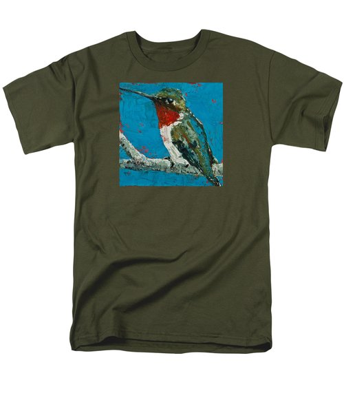 Men's T-Shirt  (Regular Fit) featuring the painting Ruby-throated Hummingbird by Jani Freimann