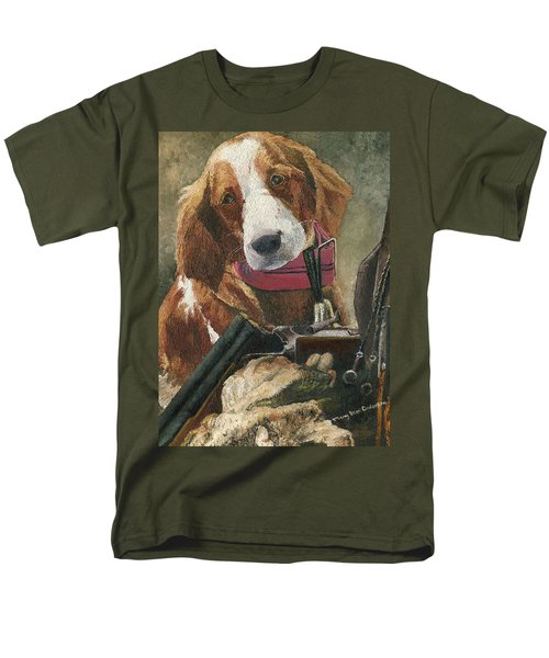 Men's T-Shirt  (Regular Fit) featuring the painting Rusty - A Hunting Dog by Mary Ellen Anderson