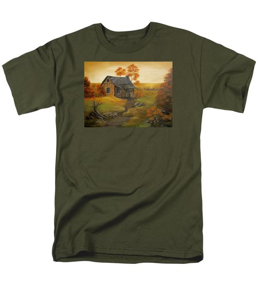 Men's T-Shirt  (Regular Fit) featuring the painting Stone Cabin by Kathy Sheeran
