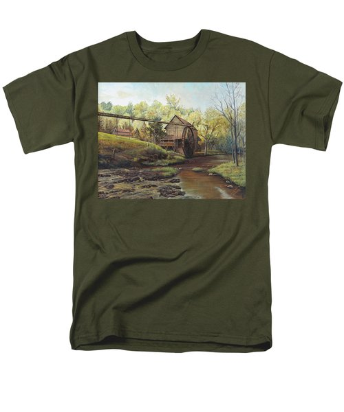 Men's T-Shirt  (Regular Fit) featuring the painting Watermill At Daybreak  by Mary Ellen Anderson