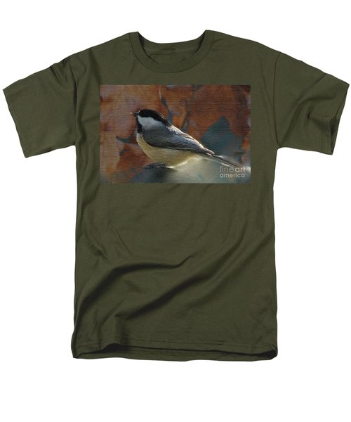 Men's T-Shirt  (Regular Fit) featuring the photograph Chickadee In Autumn by Janette Boyd