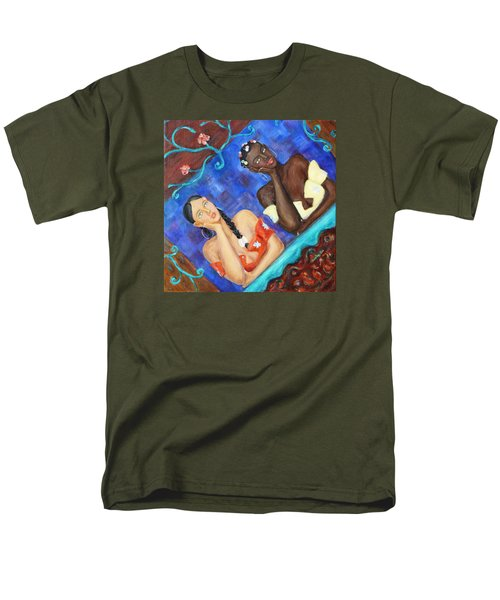 Men's T-Shirt  (Regular Fit) featuring the painting Dreaming Girls by Xueling Zou