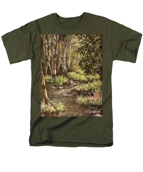Men's T-Shirt  (Regular Fit) featuring the painting Forest Stream by Megan Walsh