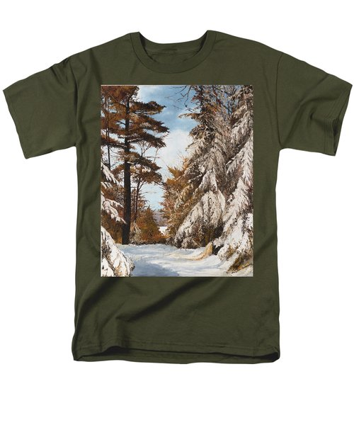 Men's T-Shirt  (Regular Fit) featuring the painting Holland Lake Lodge Road - Montana by Mary Ellen Anderson