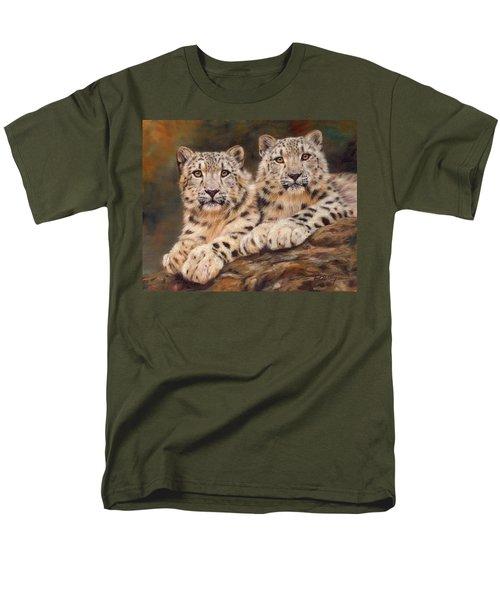 Snow Leopards Men's T-Shirt  (Regular Fit) by David Stribbling