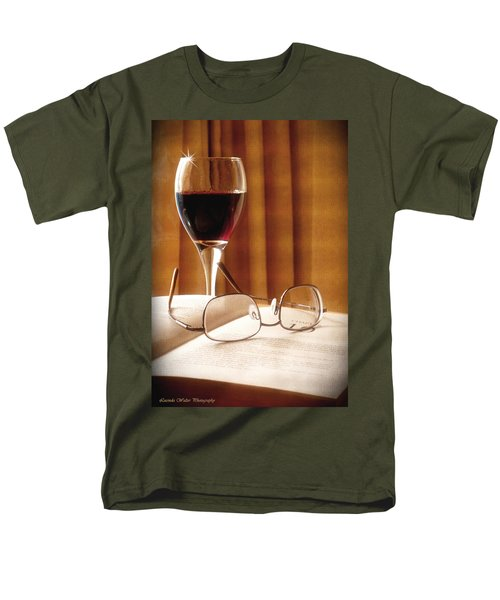 A Good Book And A Glass Of Wine Men's T-Shirt  (Regular Fit) by Lucinda Walter