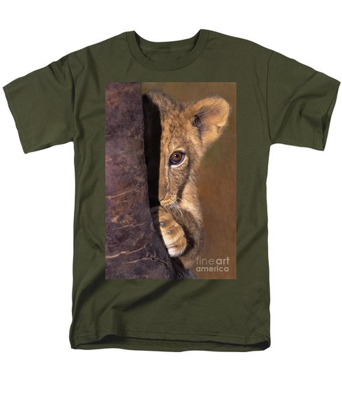 A Lion Cub Plays Hide And Seek Wildlife Rescue Men's T-Shirt  (Regular Fit) by Dave Welling