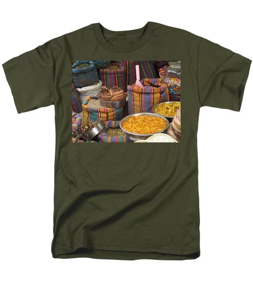 Men's T-Shirt  (Regular Fit) featuring the photograph Acco Acre Israel Shuk Market Spices Stripes Bags by Paul Fearn