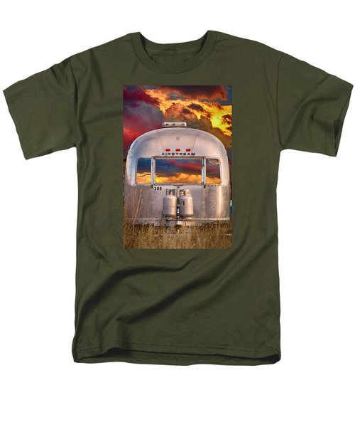 Airstream Travel Trailer Camping Sunset Window View Men's T-Shirt  (Regular Fit) by James BO  Insogna