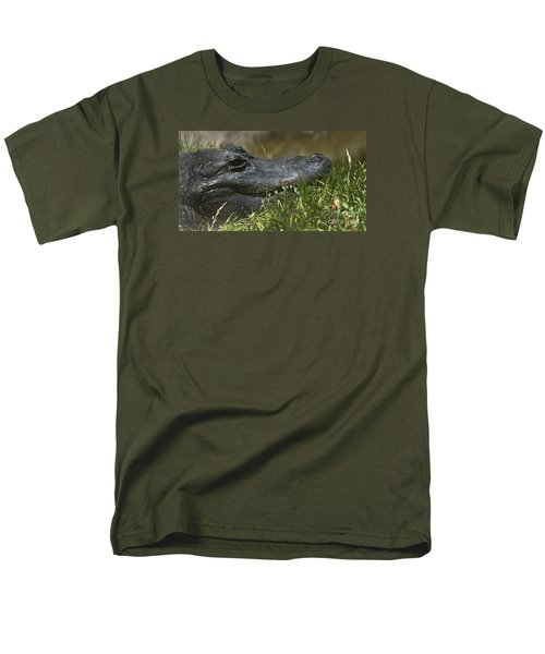 Men's T-Shirt  (Regular Fit) featuring the photograph American Alligator Closeup by David Millenheft