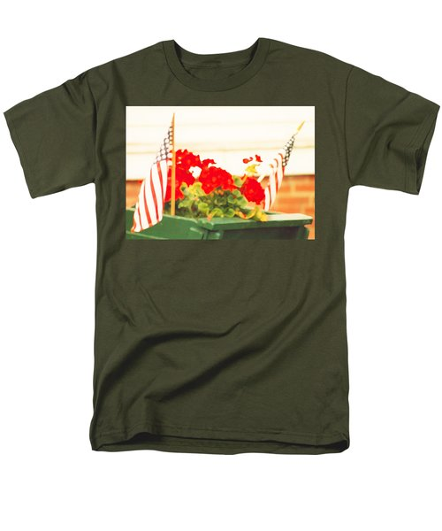 American Flags And Geraniums In A Wheelbarrow One Men's T-Shirt  (Regular Fit) by Marian Cates