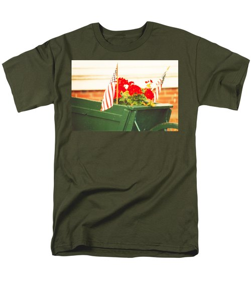 American Flags And Geraniums In A Wheelbarrow Two Men's T-Shirt  (Regular Fit) by Marian Cates