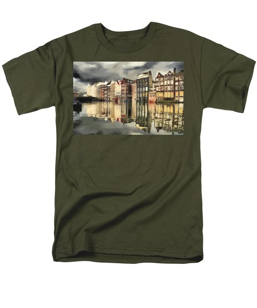 Men's T-Shirt  (Regular Fit) featuring the painting Amsterdam Cloudy Grey Day by Georgi Dimitrov